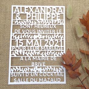 Faire part de mariage découpe laser ciselé fabriqué en France