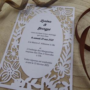 Faire-part Mariage Bohème chic en papier découpé ciselé effet dentelle