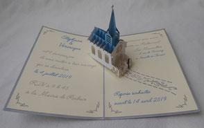 Faire-part mariage pop-up Mariage à l'Eglise personnalisé