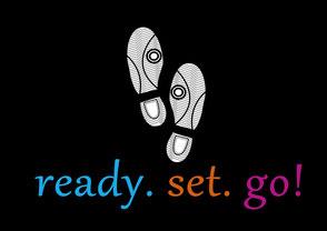 saarclean, Schuhreparatur-Service, schwarzes Bild mit weißen Fußabdrücken und Text ready Set go