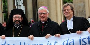 Christliche Ökumene: Vertreter der griechisch-orthodoxen, der katholischen und evangelischen Kirche 2016. Foto: Helga Karl