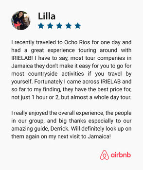 Five Star Positive Guest Review on IRIELAB Tours company, that provides day trips in Jamaica