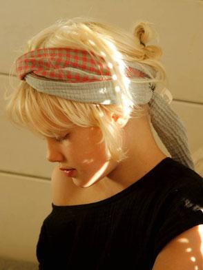 Kopftuch, Musselin, Gestreift / Headscarf, Muslin, Stripes