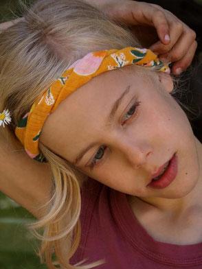Haarband, Staubrosa mit Tupfen, Handbemalt / Bandana, Dusty Rose with Spots, Hand-painted