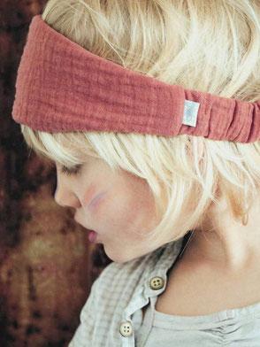 Haarband, Musselin, Staubrot / Bandana, Muslin, Dusty Red