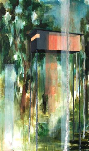 Jaqueline Kastenholz, Kunst, Malerei, Baumhaus, Wald, Acrylmalerei, Gemälde, Koblenz, Koblenzerin, Art, zeitgenössisch, Stelzen
