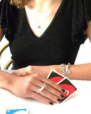 Maschen-Doppelring in Silber € 255.- | Maschen-Ring in Silber 14 Karat Gelbgold vergoldet € 155.- | Maschen-Armband in Silber € 275.-