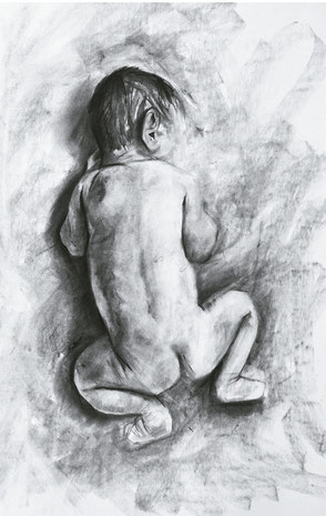 Afraid / Charcoal on paper / 11 x 17 inches