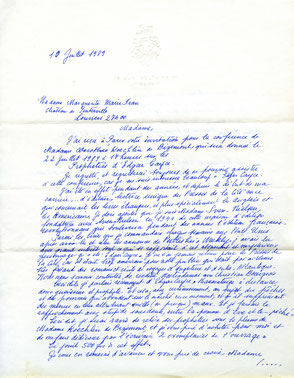 Courrier de Mme Sven Nielsen, fondatrice en 1944 des Presses de la Cité.