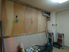 キッチン木工下地造作中