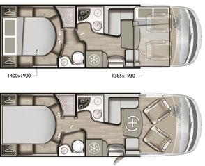Mobilvetta K-Yacht 89 Tekno Line Grundriss
