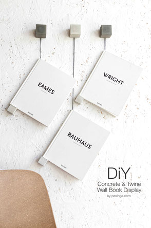 Minimal Concrete And Twine Wall Book Display DIY  by PASiNGA art and design