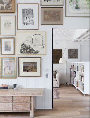 Warm Monochrome Art Wall Inspiration, image via Pinterest