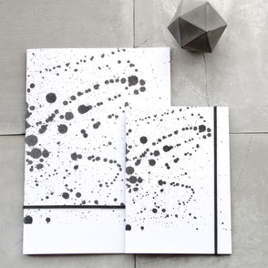 Black Splatter Recycled Paper Pocket Notebooks by PASiNGA