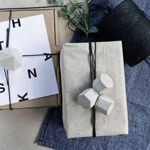 Gift Wrapping With The Concrete Hexagon Ornament Set By PASiNGA