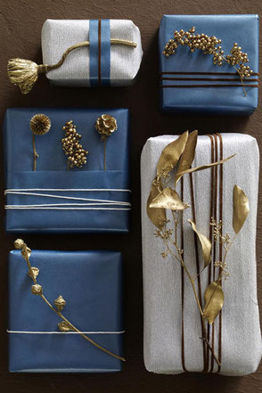 Gift Wrap With Gold Painted Dried Flowers by wunderweib