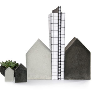 Four Quirky Concrete Houses, mixed color and sizes handcrafted by PASiNGA