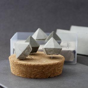 Set of five Concrete Diamond Push Pins by PASiNGA