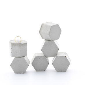 Concrete Hexagon Pendant Set of 6 by PASiNGA