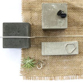 Monochrome Concrete Flat Lay Jewellery Display Inspiration Blog Post by PASiNGA