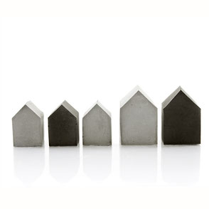 Mini Concrete House Set of 5, natural and black pigmented concrete by PASiNGA