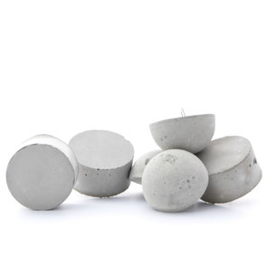 Mixed Concrete Cylinder & Half Moon Ornament Set of 6 By PASiNGA