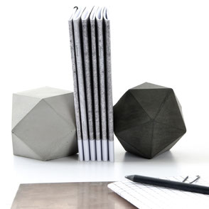 Mixed Concrete Icosahedron and Cuboctahedron Modular Sculpture Bookend Set by PASiNGA