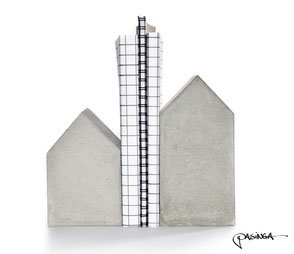 Large Concrete House Bookend Set by PASiNGA