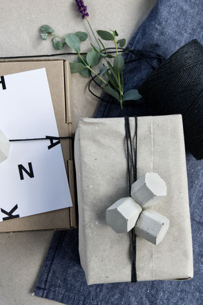 Concrete Hexagon Prism Ornaments As Gift Wrapping Accent By PASiNGA
