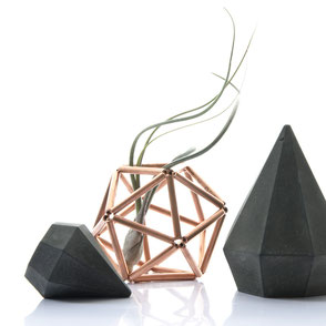 Tall dark concrete diamonds with a geometric copper structure air plant holder by PASiNGA