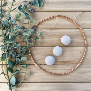 Summer Garden Greens, Wreath Diy with Concrete Half Moon Ornaments and Copper Copper by PASiNGA
