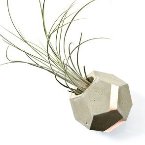Concrete and Copper Dodecahedron Air Plant Vase by PASiNGA