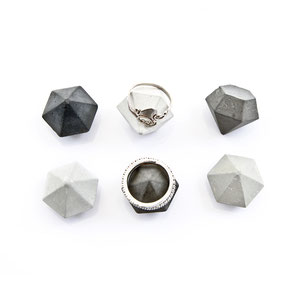 Concrete Diamond Ring Holder Set of 6 by PASiNGA