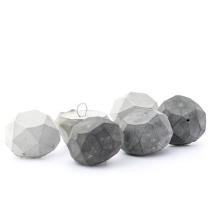 Concrete Polygon Faceted Ornament Set of 3 By PASiNGA