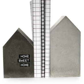 Large Grey and Black Concrete House Bookends by PASiNGA