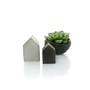 Mini Concrete House Set of Two, two color house set by PASiNGA