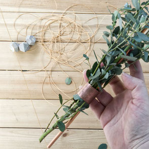 Concrete Diamond Ornament Copper Wreath Diy - adding greenery by PASiNGA