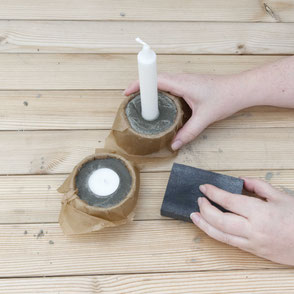 DIY Concrete Candle Holder Tutorial, a wonderfully easy concrete diy with recycled moulds and baking paper to create a tree bark texture! #diy #concrete #modernhome #tutorial #pasinga #blogging