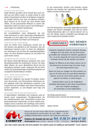"""Mailing Nr. 60 Rückseite zum Thema """"Tipps in der Corona-Krise."""""""