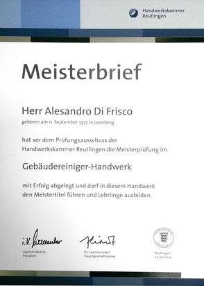 Meisterbrief Alessandro Di Frisco
