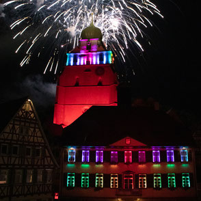 Lichttechnik Kirche Feuerwerk LED Akku