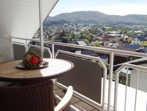 Blick vom Balkon über Fürth Odenwald