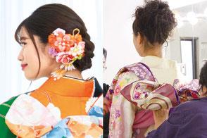 当日のヘアメイク成人式&着付無料サービス(お買い上げ金額が10万円未満の方は、38,000円(税別)でご優待します)