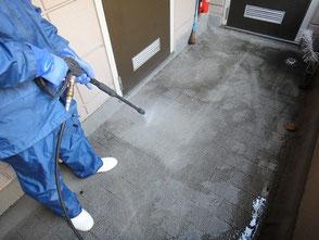 マンション・アパートの外廊下の高圧洗浄
