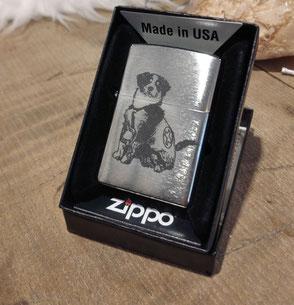 Zippo graviert  mit dem Foto eines Berner Sennenhundes.