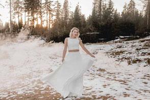 """zweiteiliges Hochzeitskleid: Spitzentop """"Natsumi"""" mit Chiffonrock"""