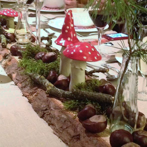 Gartendeko auch für den Tisch - Fliegenpilze