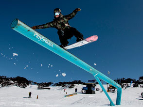 Snowboardkurs, Funpark Kids auf dem Rail