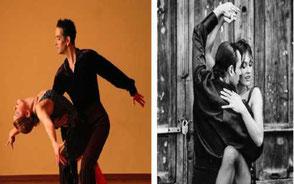 två bilder på ett par som dansar tango