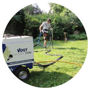 Bodenbelüftung einer Rasenfläche